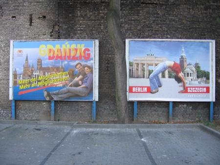 Reklamy Gdańska i Szczecina.