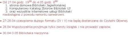 Komunikat o zamknięciu Jagiellonki